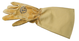 Womanswork Leather and Canvas Rose Gauntlet Glove